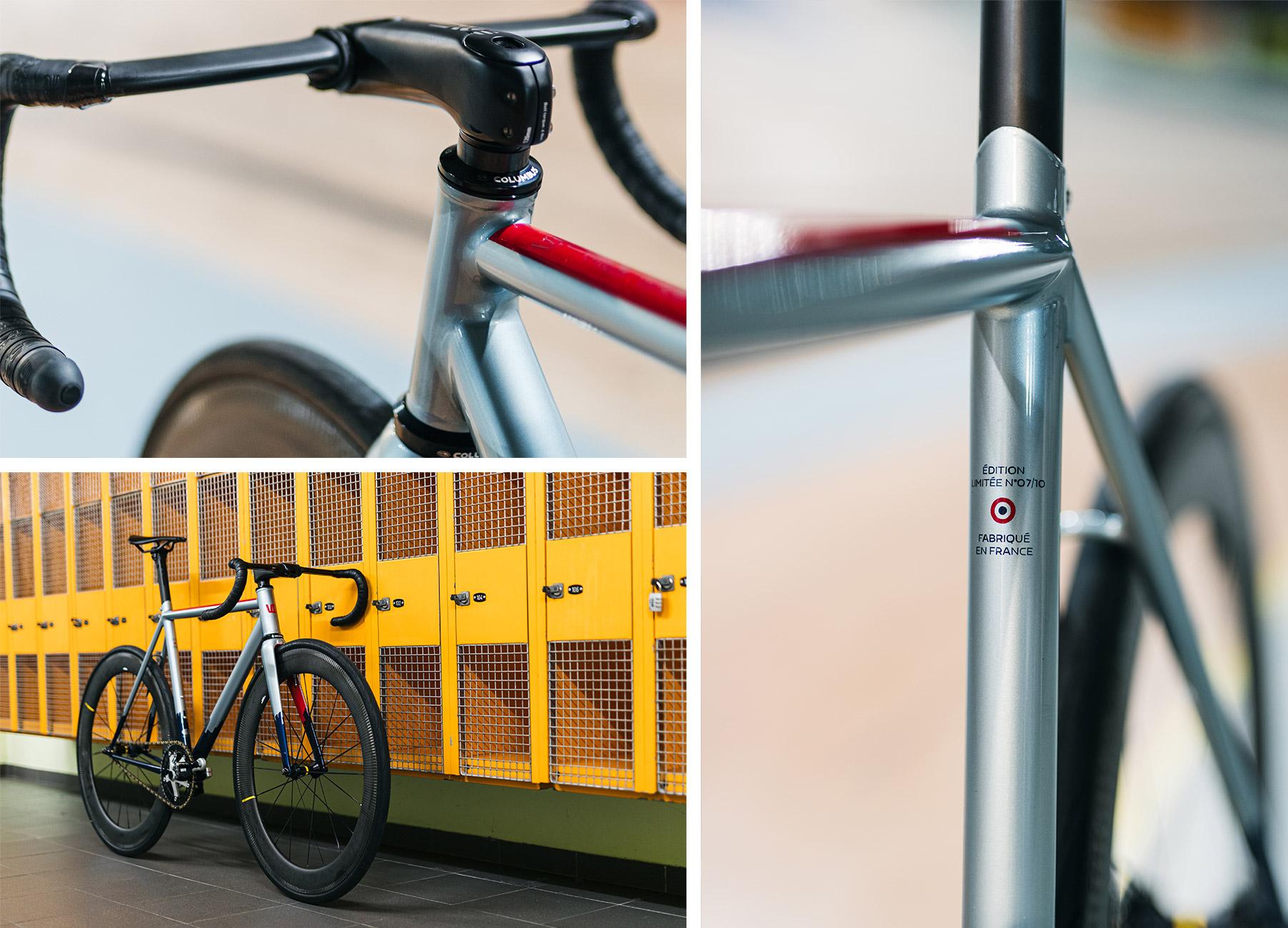 Triptyque de photos du Wish One Criterium avec une vue du vélo pignon fixe entier, un zoom sur le guidon et un zoom sur le tube de selle