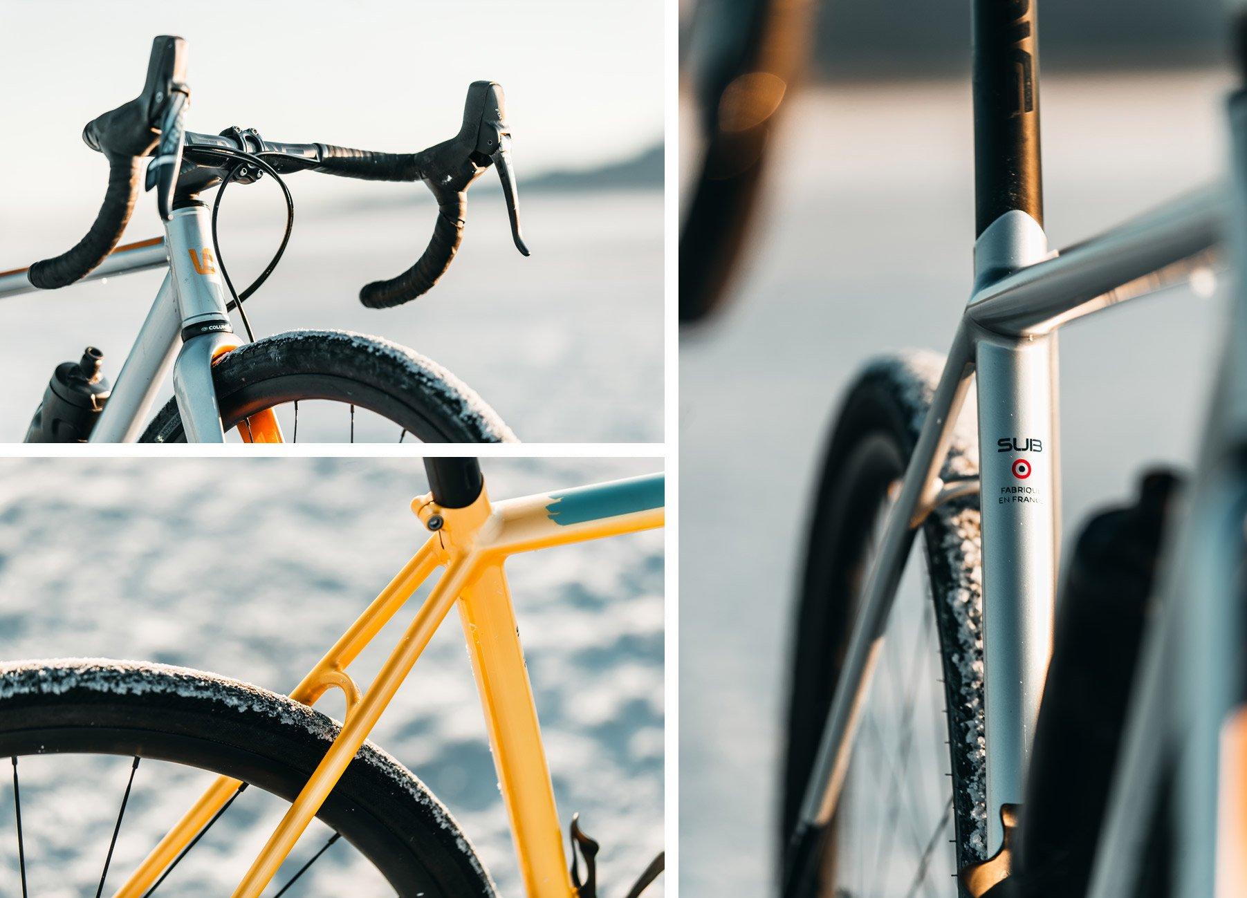 Triptyque de photos du Wish One SUB avec une vue sur le guidon, un zoom sur le tube de selle et un zoom sur les haubans